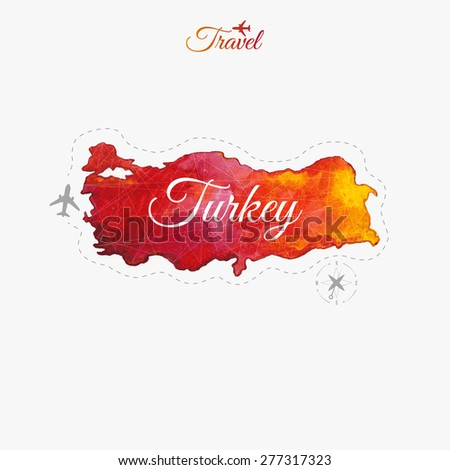 Travel around the  world. Turkey. Watercolor map - stock vector