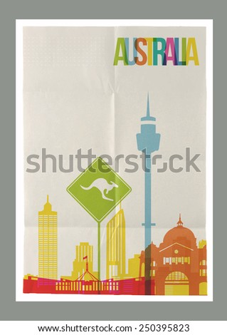 Travel Australia famous landmarks skyline on vintage paper sheet poster design background. Vector organized in layers for easy create your own website, brochure or marketing campaign. - stock vector