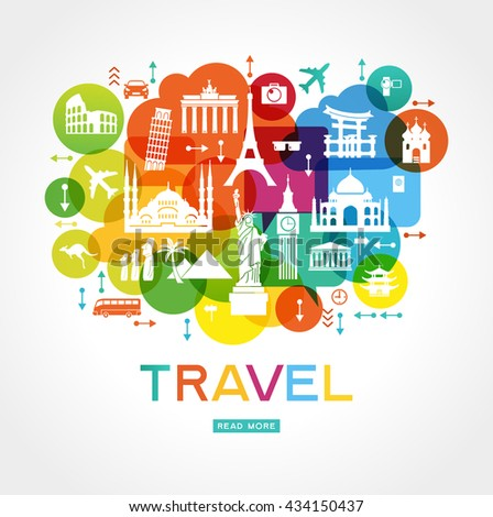 Travel background. Colorful template with icons tourism and landmarks.  File is saved in 10 EPS version.  - stock vector