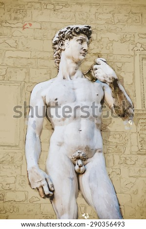 Travel background in vector format. Modern stylish painting with watercolor and pencil. David by Michelangelo in front of Palazzo Vecchio, Florence Italy - stock vector