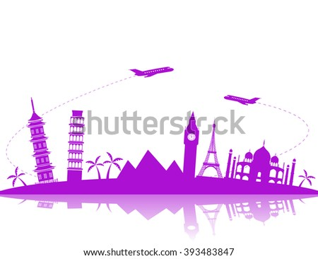 Travel background  vector illustration with silhouettes of flying aircraft and the world landmarks - stock vector