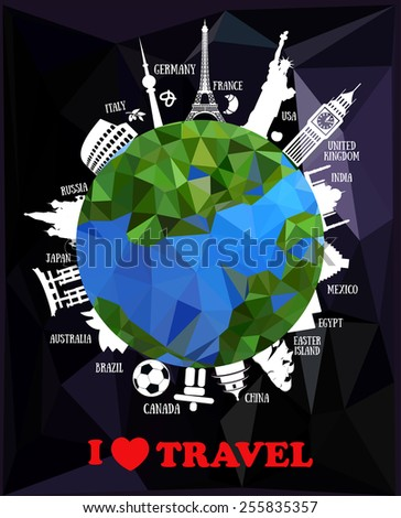 travel background with earth and landmarks - stock vector