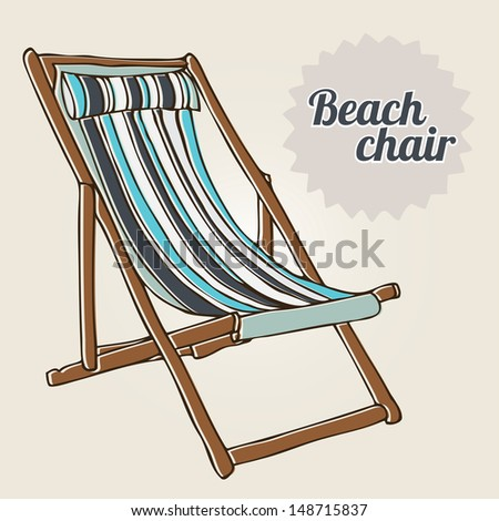Travel background with hand-drawn beach chair - stock vector