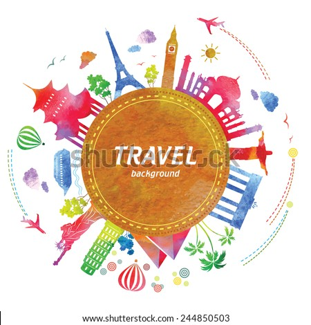 Travel background with watercolor effect. Vector. - stock vector