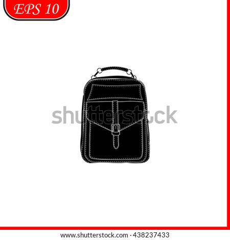 Travel bag icon. Simple black vector symbol. Logo for web. Image for business. - stock vector