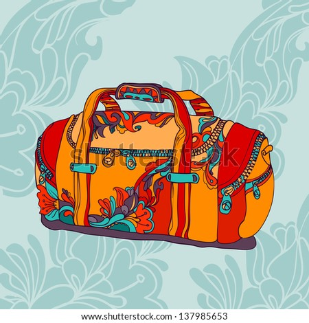 travel bag on blue ornamental background - stock vector