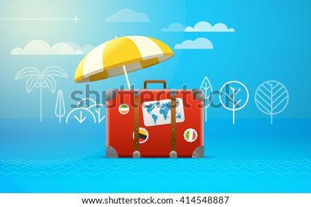 Travel bag vector illustration. Vacation concept - stock vector