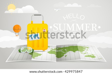 Travel bag vector illustration. Vacation concept with luggage. - stock vector