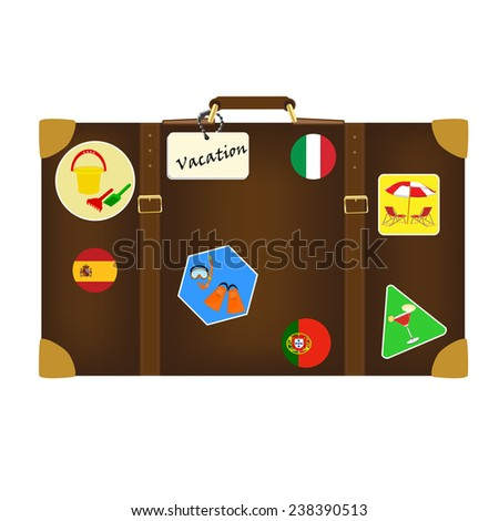Travel bag with labels isolated on white, vacation, luggage, journey - stock vector