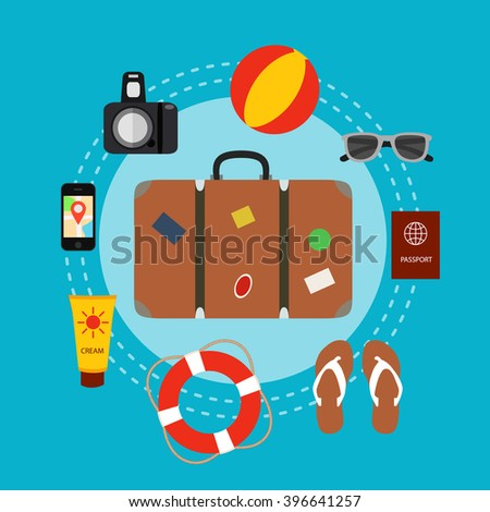 Travel baggage concept with travel elements, voyage tourism  icons. Summer travel luggage concept suitcase. Voyage travel concept in flat style. Vector illustration of summer tourism background - stock vector