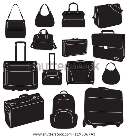 Travel bags and suitcases collection - vector - stock vector
