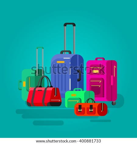 Travel bags in various colors. Luggage suitcase and bag - stock vector