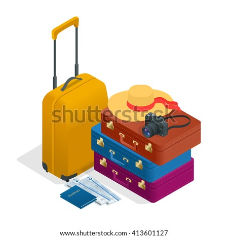 Travel bags, passport, foto camera and travel ticket. Traveling Isometric, Traveling flat 3d vector illustration. Travel to World. Vacation. Road trip. Tourism. Travel banner. - stock vector