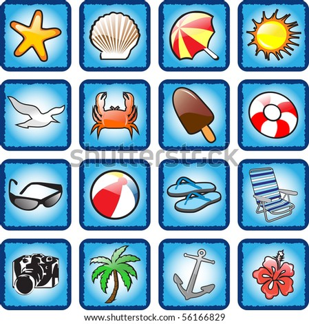Travel & beach icons vector illustration - stock vector