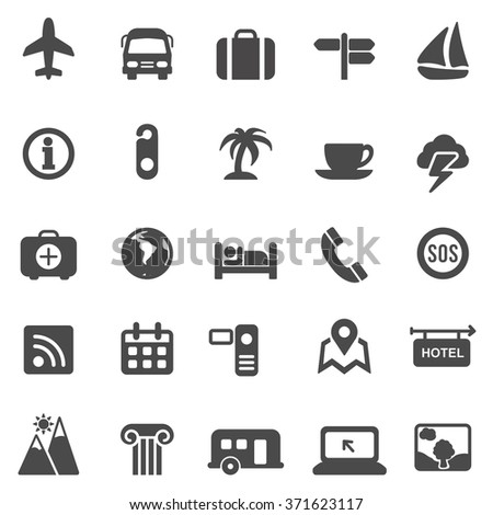 Travel black icons set.Vector - stock vector