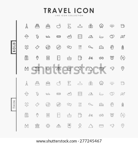 travel bold and thin outline icons - stock vector