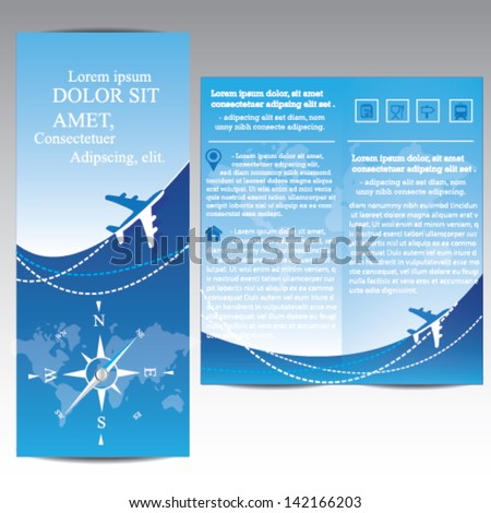 Travel Brochure with airplane and compass - stock vector