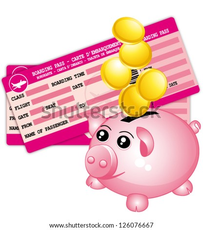 Travel budget. Pink boarding passes and piggy bank. Vector icon. - stock vector