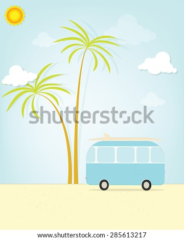 travel bus with palm - stock vector
