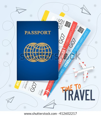 Travel, business trip concept. Passport with tickets. Air travel concept. Business travel illustration. Flat Design - stock vector