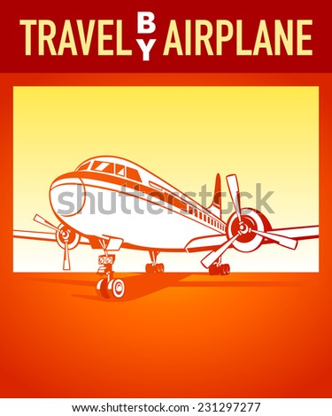 Travel by airplane orange retro poster - stock vector