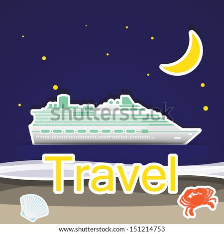 Travel by cruise ship,Illustration eps 10 - stock vector
