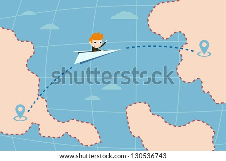 travel by paper jet plane. - stock vector