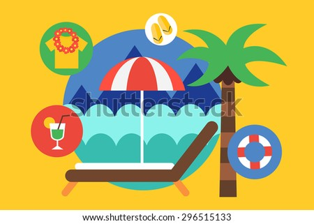 Travel by the plane vector illustrat. Summer, Air and holiday symbols. Stock design elements - stock vector