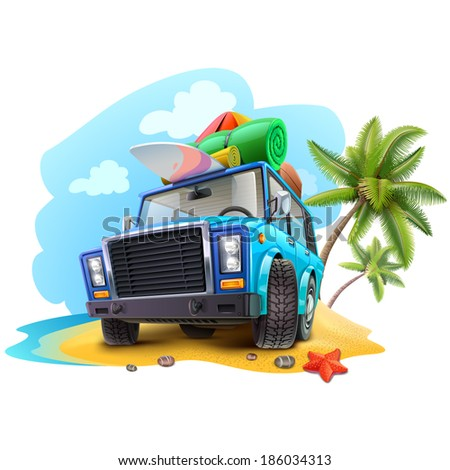 travel car on beach - stock vector