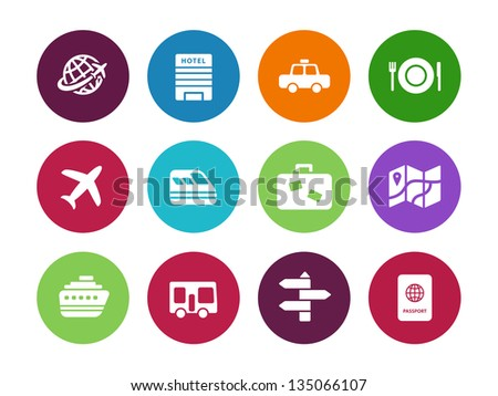 Travel circle icons on white background. Vector illustration. - stock vector