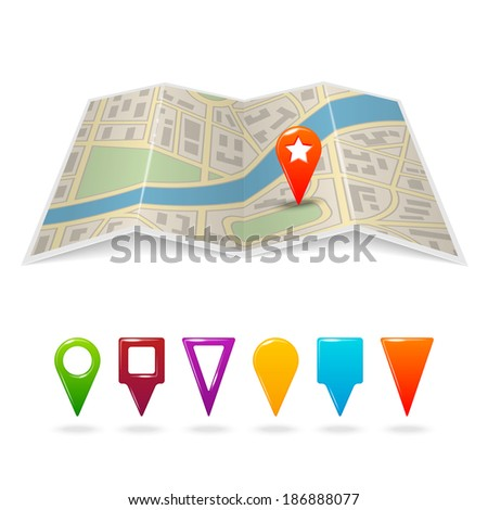 Travel city road street map with navigation pin symbols vector illustration - stock vector