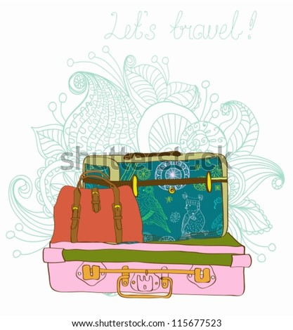 Travel color Suitcases with funny pattern Background, illustration,vector - stock vector
