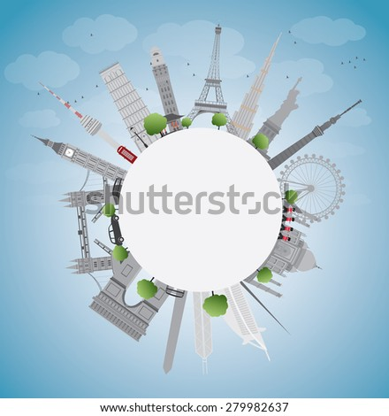 Travel concept around the world with famous international landmarks. Vector illustration - stock vector