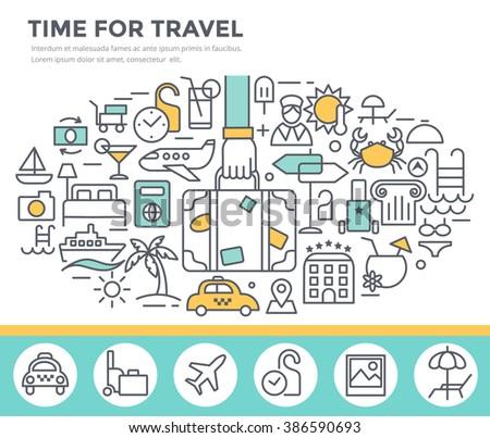Travel concept illustration, thin line flat design - stock vector