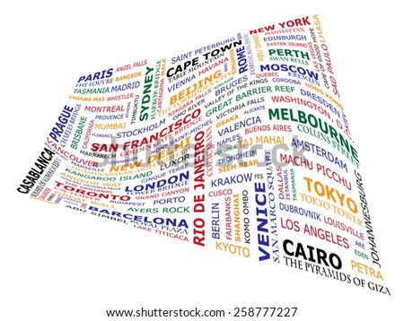 Travel concept made by signs indicating the known travel destinations. Words are written in colors that include individual continents . Illustration creates a wave. - stock vector