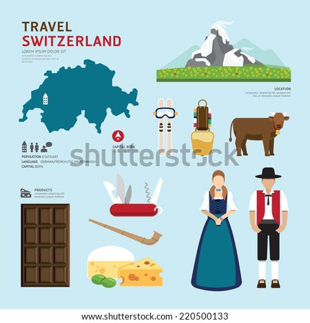 Travel Concept Switzerland Landmark Flat Icons Design .Vector Illustration - stock vector