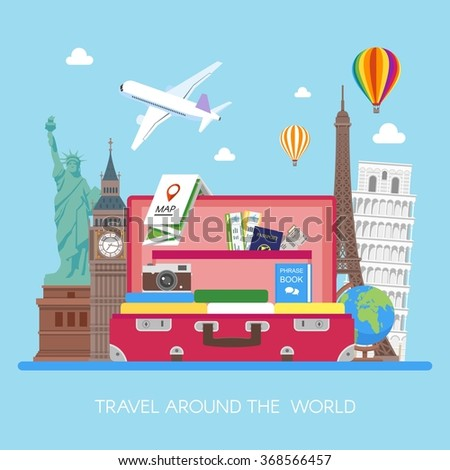Travel concept vector illustration in flat style design. Airplane flying above tourists luggage, map, passport, tickets, photo camera and landmarks. Vacation and tourism background. - stock vector