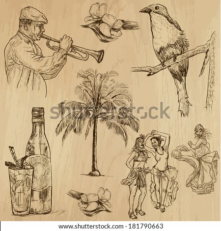 Travel : CUBA set no.3. Collection of hand drawn illustrations. Each drawing comprises two layers of outlines, the colored background is isolated. - stock vector