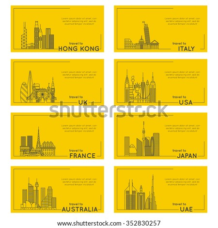 travel destination quote style card set. banner illustration of different countries. flat line modern vector collection. Hong Kong, Italy, UK, USA, FRANCE, JAPAN, AUSTRALIA, UAE - stock vector