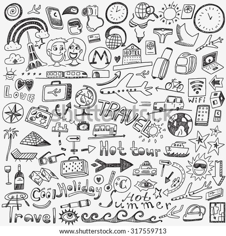 travel doodles sketch icons - stock vector