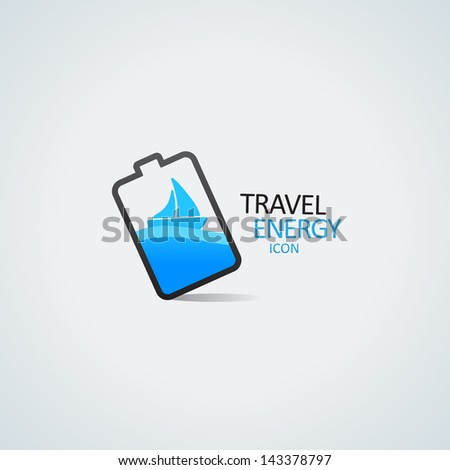Travel energy icon. Yacht in the battery vector illustration - stock vector
