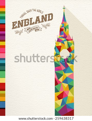 Travel England famous landmark. Colorful polygonal monument with vintage label and textured paper background. Ideal for website, brochure or marketing campaign. EPS10 vector file. - stock vector