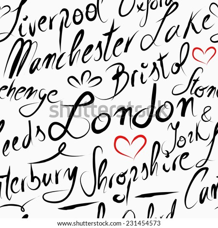 Travel England UK famous cities with handmade calligraphy. London city, Manchester, Liverpool, Oxford, Bristol. Seamless pattern for your own poster, wrapping paper or marketing campaign. - stock vector