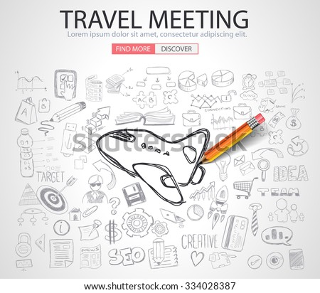Travel for Business concept  with Doodle design style :finding solution, brainstorming, creative thinking. Modern style illustration for web banners, brochure and flyers. - stock vector