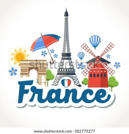 travel France header card - stock vector