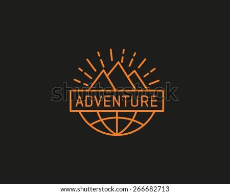 Travel, globe, earth, mountain, adventure, camp logo design. Quest, game, hike symbol - stock vector