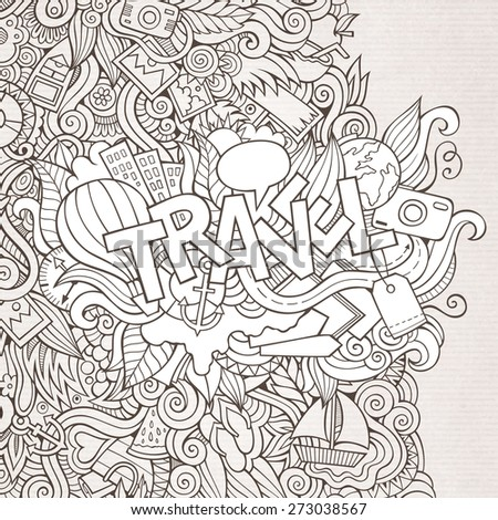 Travel hand lettering and doodles elements. Vector illustration - stock vector