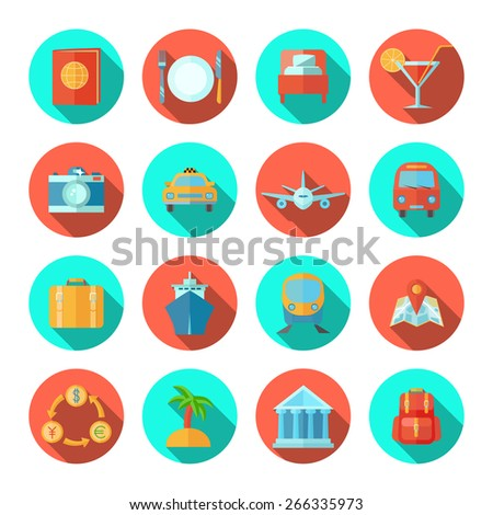 Travel icon flat set with tourist and summer vacation symbols isolated vector illustration - stock vector