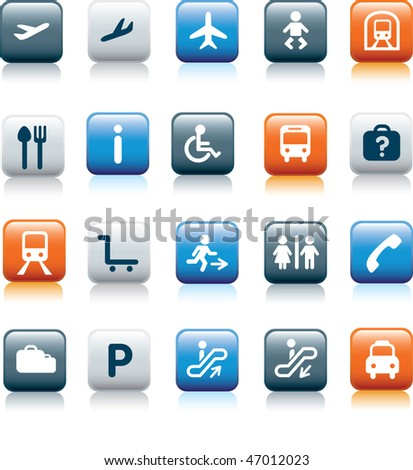 travel icon illustration set on blue and orange and grey - stock vector