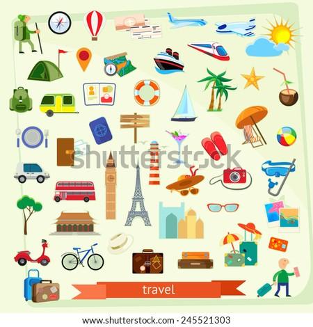 Travel icon set, flat design - stock vector